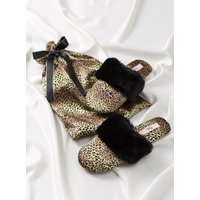 Boux Avenue                   Leopard slippers in a bag - Brown Mix               - 3-4