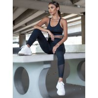 Boux Avenue Boux Sport ribbed strappy crop top - Black - S