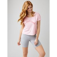 """""""be Kind To Yourself"""" Tee And Cycle Shorts Set - Powder Pink"""