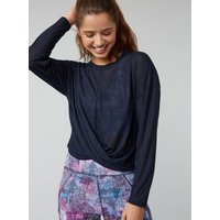 Activewear Knot Front Top - Navy