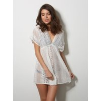 Boux Avenue                   Jenny cotton lace kaftan - White               - L
