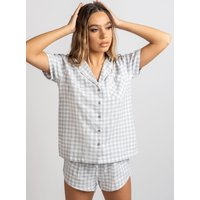 Boux Avenue                   Grey gingham shortie in a bag - Grey Mix               - 14