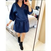 Lizban Oversized Faux Suede Smock Dress - Navy