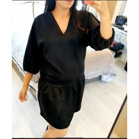Lizban Oversized Faux Suede Smock Dress - Black