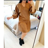 Lizban Oversized Faux Suede Smock Dress - Tan