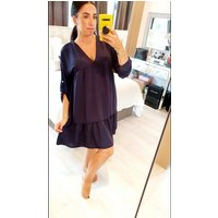 Helany Oversized Floaty Button Detail Smock Dress - Navy