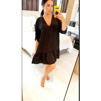 Helany Oversized Floaty Button Detail Smock Dress - Black