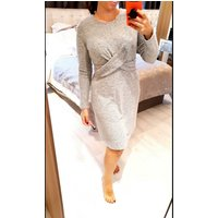 Portland Twist Knot Detail Knitted Dress - Grey