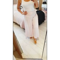 Rosada Pin Stripe Elasticated Wide leg Cropped Trousers  - Baby Pink