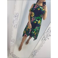 Angel Cold Shoulder Floral Print Dress - Navy