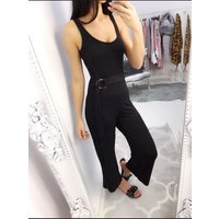 Allegra Double Ring Belted Jumpsuit - Black