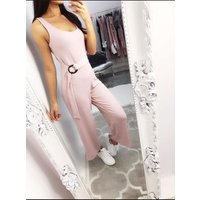Allegra Double Ring Belted Jumpsuit - Pink