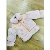 Ava Kids Baby Pink Faux Leather Faux Fur Biker Jacket
