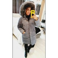 Klo Long Faux Suede Ribbed Faux Fur Hooded Coat - Grey