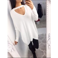 Bailie Choker Batwing Ribbed Jumper - White