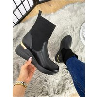 Clarisa Faux Leather Hidden Wedge Sock Boots - Black