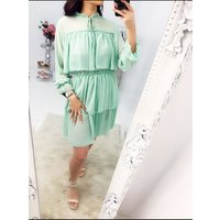 Emona Tie Neck Ruffle Trim Layered Smock Dress - Mint