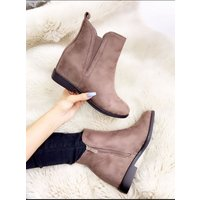 Glade Taupe Faux Suede Hidden Wedge Ankle Boots