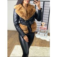 Glendah Black With Tan Faux Leather Faux Fur Belted Jacket