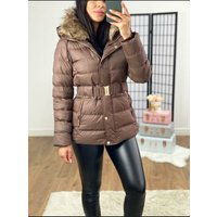 Yoshi Brown Faux Fur Belted Padded Coat