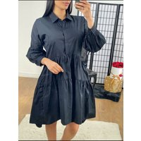 Rome Tiered Dipped Hem Puff Sleeve Shirt Dress  - Baby Pink