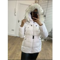 Luna White Padded Faux Fur Belted Coat