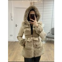 Katy Cream Faux Fur Panelled Faux Leather Biker Jacket