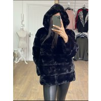 Courtney Black Faux Fur Panelled Hooded Coat