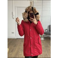 Perla Red Speckled Faux Fur Long Hooded Coat