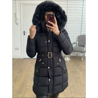 Lorie Padded Speckled Faux Fur Hooded Coat
