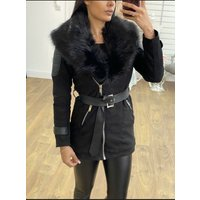 Kiko Black Faux Fur Collar Suedette Jacket