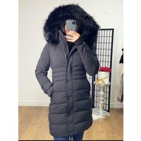 Kenlie Black Padded Black Faux Fur Hooded Coat