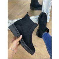 Marshal Black Faux Suede Studded Chunky Ankle Boots