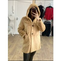 Amilie Faux Fur Hooded Button Detail Oversized Coat  - Camel