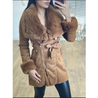 Fionie Tan Faux Fur Faux Suede Belt Coat