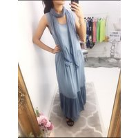 Lee Two Piece Scarf Maxi Dress  - Blue