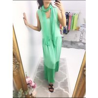 Lee Two Piece Scarf Maxi Dress  - Green