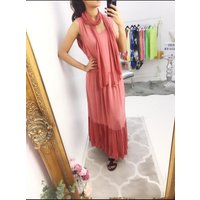 Lee Two Piece Scarf Maxi Dress  - Pink
