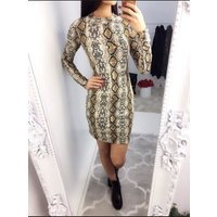 Meladie Fitted Snake Print Party Dress