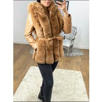 Navina Tan Faux Fur Panelled Faux Leather Belted  Jacket