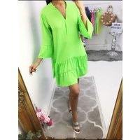 Parisa Plain Frill Flowy Smock Dress - Neon Green