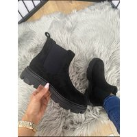 Zayla Faux Suede Elasticated Chunky Ankle Boots  - Black