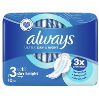 Always Ultra Night Size 3 Sanitary Towels with Wings 10 Pack