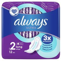 Always Ultra Long Size 2 Sanitary Towels with Wings 12 Pack
