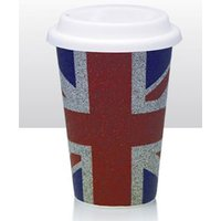 Union Jack Glitter Design Ceramic Double Walled Coffee Cup