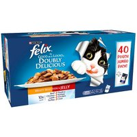 Felix As Good As It Looks Doubly Delicious Meaty Selection in Jelly 40 x 100g