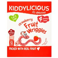 Kiddylicious Strawberry Wriggles Multi 4 Pack