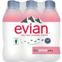 Evian Natural Mineral Water 6 Pack