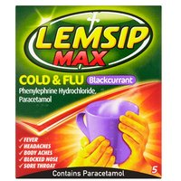 Lemsip Max Cold and Flu Blackcurrant 5 Pack