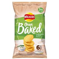 Walkers Baked Sour Cream and Chives Crisps 6 Pack